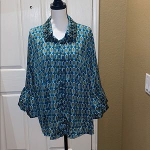 Beautiful Rich Pattern Blouse with Bell Sleeves